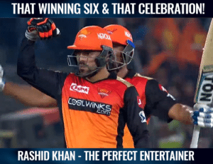 Rashid Khan flexed his muscles after hitting the winning shot.  (Pic-Hotstar): THAT WINNING SIX & THAT CELEBRATION!  RASHID KHAN THE PERFECT ENTERTAINER Rashid Khan flexed his muscles after hitting the winning shot.  (Pic-Hotstar)
