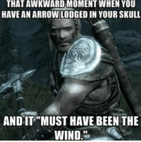 "MY MIND IS PLAYING TRICKS ON ME!! skyrim tes theelderscrolls elderscrolls: THATAWKWARD MOMENT WHEN YOU  HAVE AN ARROWILODGED IN YOUR SKULL  ANDIT ""MUST HAVE BEEN THE  WIND MY MIND IS PLAYING TRICKS ON ME!! skyrim tes theelderscrolls elderscrolls"