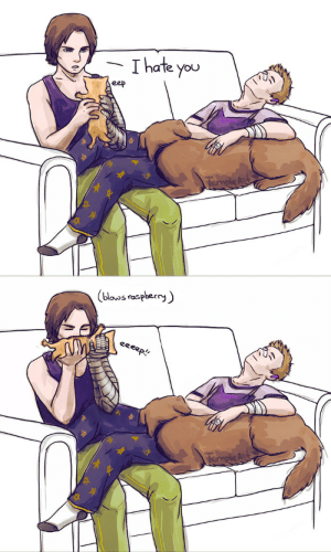 templeait: My man, my pal, domestic and tired is all I ever draw about these two xD Thanks for dropping by and for your kind words (: Have some Bucky totally-not-liking the tiny floof (blowing raspberries on kitties' tummies is a religious experience and if you haven't done it y'all missing out, 200/10 would recommend) : Thate you  eep  TempleAr   (blouos raspberry  eeeep!  TempleAu templeait: My man, my pal, domestic and tired is all I ever draw about these two xD Thanks for dropping by and for your kind words (: Have some Bucky totally-not-liking the tiny floof (blowing raspberries on kitties' tummies is a religious experience and if you haven't done it y'all missing out, 200/10 would recommend)