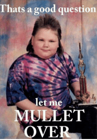 This makes me moist.: Thats a good question  let me  MULLET  OVER This makes me moist.