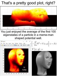 Anaconda, Meme, and Good: That's a pretty good plot, right?  x10  10  You just enjoyed the average of the first 100  eigenstates of a particle in a meme-man  shaped potential well.  Fiqure4  File Edit View Insert Tools Desktop Window Help  V(x,y)  90  80  70  60  40  30  hi  folks  20  10  10 20 30 40 50 60 70 80 90