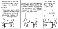 Paranoia Fuel tvtropes.org/Main/ParanoiaFuel Credit: xkcd.com/250: THATS ABSURD. PLUS,  ANOTHER URBAN LEGEND? YoU  SHOULD CHECK SNOPES BEFORE YEAH, BUT THEY HAVE THEIR DARK SIDE ITS DEFINITELY NOT  SENDING ME THIS 5TUFF. THECOUPLE THAT RUNS 5NOPESCoM TRUE IT WAS  ALSO RUNS A NETHORK OF SPAM SERVERS DEBUNKED BY.  THAT START MANY OF THOSE FORMARDED  00PS, YEAH.  MAN, SNOPES REALLY IS GREAT- STORIES INTHE FIRST PLACE, ENSURINGvsS?  INDEPENDENT FACT-CHECKERS THEYLL ALWAYS HAVE BUSINESS.  TRAWLING OUR COLLECTIVE  DISCOURSE, FILTERING OUT  YES?  .OH MY GOD.  MISINFORMATION. Paranoia Fuel tvtropes.org/Main/ParanoiaFuel Credit: xkcd.com/250