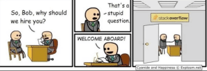 Cyanide and Happiness, Happiness, and Net: That's al  So, Bob, why should  we hire you?  stupid  stackoverflow  question  WELCOME ABOARD!  Cyanide and Happiness  Explosm.net Primarily opinion-based