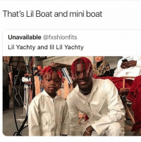 @thesavagehumor is WAAAY TOO SAVAGE🔥👹! Follow them for the WILDEST Posts EVERYDAY🔥: That's Lil Boat and mini boat  Unavailable @fxshionfits  Lil Yachty and lil Lil Yachty @thesavagehumor is WAAAY TOO SAVAGE🔥👹! Follow them for the WILDEST Posts EVERYDAY🔥