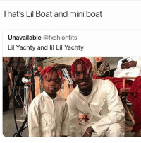 lilboat and lilboat2 😂 ➡️ TAG 5 FRIENDS ➡️ TURN ON POST NOTIFICATIONS: That's Lil Boat and mini boat  Unavailable @fxshionfits  Lil Yachty and l Lil Yachty lilboat and lilboat2 😂 ➡️ TAG 5 FRIENDS ➡️ TURN ON POST NOTIFICATIONS