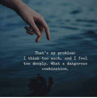 Too Much, Think, and Combination: That's my problem:  I think too much, and I feel  too deeply. What a dangerous  combination.