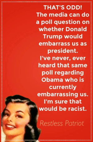 "Being Alone, Bad, and Donald Trump: THAT'S ODD!  The media can do  a poll question on  whether Donald  Trump would  embarrass us as  president.  I've never, ever  heard that same  poll regarding  Obama who is  currently  embarrassing us.  I'm sure that  would be racist.  Restless Patriot c-bassmeow:  this is so dumb it hurts lol the media constantly disrespects Obama and no one pulls ""the race card"" when it happens  1. didn't fox news disrespect Obama by incessantly covering the birther movement and the idiotic pundits (and Trump) who touted this theory? The only president who for his entire 8 years will have a sizeable portion of the nation think he is a muslim and foreigner despite evidence saying otherwise  2. On Fox News Ralph Peters calls Obama a pussy and other bad names. The host, Stuart Varney, simply says ""you can't use that language"" but no one is really concerned with someone saying that to the president its just the word itself that cant be used on tv. yet the Dixie Chicks criticize Bush and conservatives feelings are hurt and their careers are ruined.   3. the media makes fun of Obama all the time. pundits call him ineffective, harmful, dangerous, lover of terrorism, the list goes on and on and on  4. i love how conservatives say ""stop making____  a race issue"" yet they make this (a poll about Trump?) a race issue  5. Trump is a contender to be president while Obama is THE FUCKING PRESIDENT  6. if you are more embarrassed of Obama who has at least improved the economy since George W. Bush (who put us into not one but two multi-trillion dollar wars) over Trump who wants to build a fence and have mexico pay for it, has no knowledge on the world, thinks US workers are overpaid and then flip flops saying we are underpaid after being called out, and wants to register muslims into a database ……… yeah …..  7. what piss poor logical reasoning was involved in this not even humorous post jesus christ    Oh let me add more NEW examples of how the evil pro-black, anti-white, liberal media respects Obama: just one incident alone destroys your theory. When Obama gave his speech on gun control and he cried: 1. ""Where were his tears and the emotion after the paris attacks?"" 2. ""he can't pull that kind of passion for anything but THIS"" 3. ""I would check that podium for a raw onion or some no more tears"" all comments from the Pro-black, Pro-Obama, anti-white, anti-trump, Fox News"