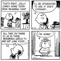 This strip was published on June 21, 1982.: THAT's R16HT... SALLY  COMES HOME TODAY  FROM BEAN BAG CAMP  ALL THEY DO THERE  IS LIE IN THEIR  BEANBA65 WATCH TV  AND EAT JUNK FOOD...  O  I'LL BE INTERESTED  TO SEE IF SHE'S  CHANGED  6-21  HOME  I'M This strip was published on June 21, 1982.