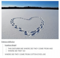 Cotton Eyed Joe: thats so-riddikulus:  hopeless  THIS DISTURBS ME WHERE DID THEY COME FROM AND  WHERE DID THEY GO  WHERE DID THEY COME FROM COTTON EYED JOE