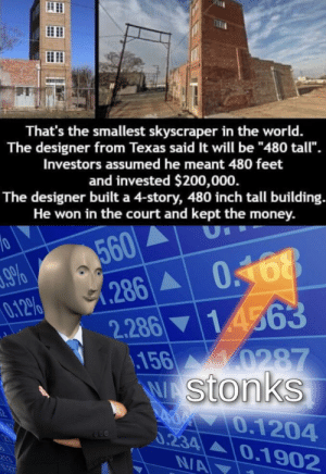 "Money, Texas, and World: That's the smallest skyscraper in the world.  The designer from Texas said It will be ""480 tall"".  Investors assumed he meant 480 feet  and invested $200,000.  The designer built a 4-story, 480 inch tall building.  He won in the court and kept the money.  560  (286 0.168  10  9%  0.12%  0468  2.28614563  156 0287  WAStonks  A 70.1204  0.234 0.1902  N/A Absolute 𝐒𝐭𝐨𝐧𝐤𝐞𝐫"