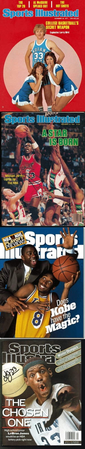 Happy 65th birthday to Sports Illustrated magazine https://t.co/7w6AbRqFQD: THE  ТОР 20  AL MCGUIRE  SPEAKS OUT  THE  HOT SHOTS  Sports Illustrated  NOVEMBER 28, 1977  ONE DOLLAR  COLLEGE BASKETBALL'S  SECRET WEAPON  Explosive Larry Bird  ND  33  5TTE   Sports ustrated  DECEMBER 10, 1984  $1.95  A STAR  IS BORN  3  Michael JordRI  Lights Up  The NBA  BU  724454   NBA NHL  PLAYOFF  PREVIEWS  Spor  Arar  SPA  Does  Kobe  have the  Magic?   Sports  Winter Olympics  WHAT MAKES THESE  GAMES SO SPECIAL  U.S. SNOWBOARDERS  RULE THE HALFPIPE  THE  CHOSEN  ONE  IR K  High school junior  LeBron James  would be an NBA  $3.50US $4.50CAN  lottery pick right now  08  92567 10094  FEBRUARY 18, 2002 www.cnnsi.com  AOL Keyword: Sports lllustrated Happy 65th birthday to Sports Illustrated magazine https://t.co/7w6AbRqFQD