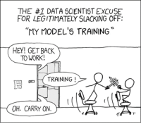 "Work, Models, and Back: THE #1 DATA SCIENTIST EXCUSE  FOR LEGITIMATELY SLACKING OFF:  ""MY MODEL'S TRAINING  HEY! GET BACK  TO WORK!  E) 미 TRAINING !  .  OH. CARRY ON.  ーー ーた  15 Shamelessly stolen from XKCD (credit where is due)"