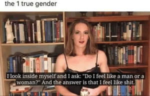 "memecage:This mortal coil: the 1 true gender  I look inside myself and I ask: ""Do I feel like a man or a  woman?"" And the answer is that I feel like shit. memecage:This mortal coil"