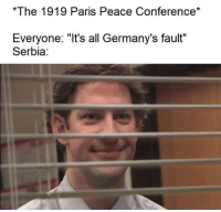 "Memes, Good, and History: The 1919 Paris Peace Conference*  Everyone: ""It's all Germany's fault""  Serbia <p>History memes have been rising steadily the past few months, good time to buy. via /r/MemeEconomy <a href=""https://ift.tt/2xhjHNE"">https://ift.tt/2xhjHNE</a></p>"