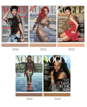 No alaben tanto a VOGUE  A Rihanna le han editado la piel durante años   Les comparto conocimiento: https://t.co/yo60cQ6M34: THE 1Oh ANINUAL  HAPE ISSL  E  HE DANGERS G  MAR  WHAITO  WEAR  WHERE  THE  SECRETS BEHIND THERED-HOT  WORLD'S RIHANNA  MOST VE TO HAVE FUN  BEAUTIFUL  RIHANN RIHANNA  On Fame, Family  & How She Realy  Feels About  Her Curves  EFFECT  HOW THE  UNSTOPPABLE  POP DIVA  BECAME A  FULL-ON  FASHION  FORCE  648  FOOLPROOF FACE  EFFORTLESS  GLAMOURFROM  A BEAUTY INSDER  SURPRISING  NEW LOOKS  FORNIGHT  LIVE BETTER  PUSH YOUR  FITNESS LIMETS  OIVE UP SUOAE  cUT BACK  ALCOHO  FIFTY SHADES  OF PINK  FASHION'S  NEW FETISH  SAVANNAH  GUTHRIE  TAKING ON  TODAY  PLUS  KARL  LAGERFELD  TAKES ON  THE LONE  STAR STATE  Fashion to  Flatter Every  Figure  PAGES OF  SPRING FASHION  GO BOLD!  DUNKIN DANDY  A Vogue  Stye Scribe  Shools Hoops  ith AMARE  BODY  BEAUTIFUL  SARAH  JESSICA  PARKER  TURNS SHOE  DESIGNER  THE $108  PARTY  DRESS  POP FLORALS  STREET CHIC  THE 24/7 JACKET  DARING EVENING  & THE MUST-HAVE  SANDALS  WHY WE LOVE  PICK YOUR  SWIMSUIT  STYLE  KATE UPTON  JIMMY FALLON  SETH MEYERS,  AND THE FUNNY  BUSINESS OF  POLITICS  JLORDE  ROCKING THE  WORLD AT 17  EAT YOURSELF  HAPPY  Foods to Treat  Depression  CELEBRATING  GLOBAL BEAUTY  THE NEW RUNWAY  DIVERSITY  MARY-KATE AND  ASHLEY OLSEN  Tiny Powerhouses  Behind The Rown  SETH  MEYERS  GRABS THE  SPOTLIGHT  EXCLUSIVE  GRACE A MEMOR  THE MAKING Of  ASTYLE LEGEND  2014  2011  2012  VORLENOGLE  UPALL  NIGHT  RIHANNA  FASHION'S  NEW   WAVE  HEAVENLY BODIES  HOW TO TRAIN  LIKE AN OLYMPIAN  BORN TO RUN  THE FASTEST  FAMILY ON EARTH  TALKS BEAUTY  BODIES&BOYs  THE FIRM  A CELLULITE  BREAKTHROUGH?  HIGH  VOLTAGE  THE NEW  NEON MAKEUP  PLUS:  THE SEASON'S  ESSENTIAL  ACCESSORY  AROBOT  EXCtusiVE  LIFE AFTER  HARVEY  GEORGINA  CHAPMAN  TELLS HER STORY  FAMILY PICNICS  ROMANTIC DRESSES  AND SUMMER'S  HOTTEST BAG  Iis Rihanna's  World  DAYS  IN THE  SUN  FROM MUSICIAN TO  MOVIE STAR TO MOGUL, IS THERE  ANYTHING S