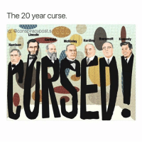 "Future, George W. Bush, and Memes: The 20 year curse.  ig: @conspiracypostis  ii  Lincoln  McKinley  Hardin  Roosevelt Kennedy  Harrison The 20 year curse, aka curse of Tippecanoe. Every time a Presidents of the United States was elected or re-elected in years evenly divisible by twenty, from 1840-1960, died. In 1980, Ronald Reagan was shot but he survived and in 2000, George W Bush had an assasination attempt but survived. The curse, first widely noted in a Ripley's Believe It or Not book published in 1931, began with the death of William Henry Harrison, who died in 1841 after having been elected in 1840. For the next 120 years, presidents elected during years ending in a zero (occurring every twenty years) died while serving in office, from Harrison to John F. Kennedy (elected 1960, died 1963).The name ""Curse of Tippecanoe"" derives from the Battle of Tippecanoe in 1811. As governor of the Indiana Territory, William Harrison used questionable tactics in the negotiation of the 1809 Treaty of Fort Wayne with Native Americans, in which they ceded large tracts of land to the U.S. government. The treaty further angered the Shawnee leader Tecumseh, and brought government soldiers and Native Americans to the brink of war in a period known as Tecumseh's War. Tecumseh and his brother organized a group of Indian tribes designed to resist the westward expansion of the United States. In 1811, Tecumseh's forces, led by his brother, attacked Harrison's army in the Battle of Tippecanoe, earning Harrison fame and the nickname ""Old Tippecanoe"". Harrison strengthened his reputation even more by defeating the British at the Battle of the Thamesduring the War of 1812. In an account of the aftermath of the battle, Tecumseh's brother Tenskwatawa, known as the Prophet, supposedly set a curse against Harrison and future presidents elected during years with the same end number as Harrison. The curse obviously was real; it couldn't have been a coincidence."