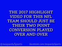 """""""Who are: the Chicago Bears?"""" #JeopardySports #MINvsCHI https://t.co/E5wFEJj2O7: THE 2017 HIGHLIGHT  VIDEO FOR THIS NFL  TEAM SHOULD JUST BE  THEIR TWO POINT  CONVERSION PLAYED  OVER AND OVER  @JeopardySports facebook.com/JeopardySports """"Who are: the Chicago Bears?"""" #JeopardySports #MINvsCHI https://t.co/E5wFEJj2O7"""
