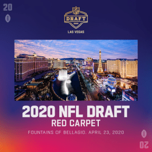 The 2020 @NFLDraft in @Vegas will be epic ✨  Red Carpet: On the Fountains of the Bellagio Main Stage: Next to Caesars Forum & Linq High Roller 🎡  Don't miss out! April 23-25 #NFLDraft https://t.co/RXTgllvq1m: The 2020 @NFLDraft in @Vegas will be epic ✨  Red Carpet: On the Fountains of the Bellagio Main Stage: Next to Caesars Forum & Linq High Roller 🎡  Don't miss out! April 23-25 #NFLDraft https://t.co/RXTgllvq1m