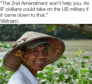 "Help, Vietnam, and Military: The 2nd Amendment won't help you. As  IF civilians could take on the US military if  it came down to that.""  Vietnam:"