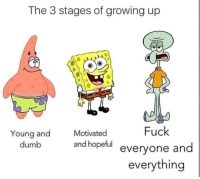 Dumb, Funny, and Growing Up: The 3 stages of growing up  Fuck  evervone and  everythina  Young and  dumb  Motivated  and hopeful