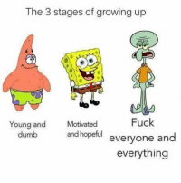 Dumb, Funny, and Growing Up: The 3 stages of growing up  Fuck  Young and  dumb  Motivated  and hopeful everyone and  everything The three stages of life https://t.co/qQE9zsnQWU