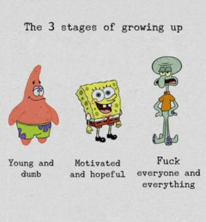 im like that episode where spongebob and squidward combined: The 3 stages of growing up  Fuck  Young and  Motivated  and hopeful everyone and  everything  dumb im like that episode where spongebob and squidward combined