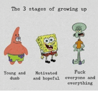 Dumb, Growing Up, and Relationships: The 3 stages of growing up  Young and Motivated  Fuck  dumb  and hopeful everyone and  everything