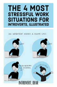 4 Most Stressful Work Situations for Introverts: THE 4 MOST  STRESSFUL WORK  SITUATIONS FOR  INTROVERTS, ILLUSTRATED  AN INTRONERT MAKES A PHONE CALL  RING!  RING!  YoUVE RE AC HED  THE VOICEMAIL  LEL U  OF  INTROVERT, DEAR 4 Most Stressful Work Situations for Introverts