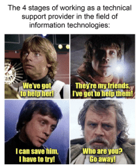 Help, Information, and Got: The 4 stages of working as a technical  support provider in the field of  information technologies  Weve got  to help herl  Theý're myfriends,  I've got to help them!  I can save him,  Ihave to try!  Who are you  Go awayl Working in IT