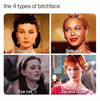 SarcasmOnly: the 4 types of bitchface  Resting  de eve  0  Eye roll  p and down SarcasmOnly