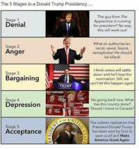 America, Donald Trump, and God: The 5 Stages to a Donald Trump Presidency.  The guy from The  Stage 1  Apprentice is running  Denial  for president? No way  this wi  work out  What an authoritarian,  Stage 2  racist, sexist, fascist,  Anger  xenophobe! He should  be killed!  I think voters will settle  Stage 3  down and he'll lose the  Bargaining  nomination. Still, we  can't let this happen again  TRUMP  No going back now. What  Depression  has this country done?  Should move to Canada?  UN  The solemn realization th  Stage 5  President Donald Trump  Acceptance  has been sent by God to  save us all and Make  America Great Again.