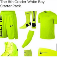 Memes, White, and Starter Pack: The 6th Grader White Boy  Starter Pack. I hope everyone wearing this kinda clothing knows they look like a glow stick -ellie
