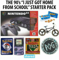 "ohmybushes: THE 90s ""I JUST GOT HOME  FROM SCHOOL"" STARTER PACK  NINTENDO64  THE CONTRuttta  CONTENTS  30  申  ONED  GAMEB  Lunchables.  Pi司  #3 Pepperoni Paored Sausage Pizzas  POGBD  sharec ohmybushes"