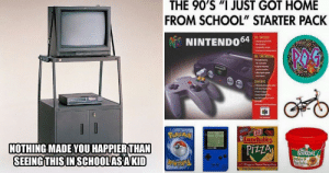 """Memes, Nostalgia, and School: THE 90'S JUST GOT HOME  FROM SCHOOL"""" STARTER PACK  e li  NINTENDO64  Pere  Lunchables  NOTHING MADE YOU HAPPIERTHAN  ti ?  t Balls  SEEING THIS INSCHOOLASAKID Hilarious 90s Memes That Will Hit You Right In The Nostalgia"""