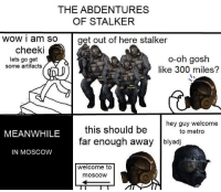 gn: THE ABDENTURES  OF STALKER  wow i am so get out of here stalker  cheeki  o-oh gosh  lets go get  some artifacts  like 300 miles?  hey guy welcome  this should be  to metro  MEANWHILE  far enough away blyadj  IN MOSCOW  welcome to  mOSCOW gn