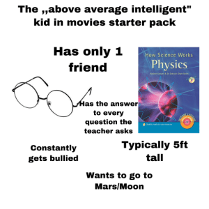 """Movies, Starter Packs, and Teacher: The ,,above average intelligent""""  kid in movies starter pack  Has only 1  How Science Works  friend  Physics  Andrew Grevatt& Dr Deborah Shah-Smith  CDInside  Has the answer  to every  question the  TASTANT  Quality ready-to-use resources  teacher asks  Constantly  Typically 5ft  gets bullied  tall  Wants to go to  Mars/Moon  ONS Usually has a name like Cody or Steward"""