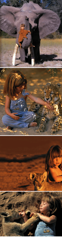 """Africa, Animals, and Children: the-absolute-funniest-posts:  casieveggies: Best Friends Born in Africa to French wildlife photographer parents, Tippi Degré had a most unusual childhood. The young girl grew up in the African desert and developed an uncommon bond with many untamed animals including a 28-year old African elephant named Abu, a leopard nicknamed JB, lion cubs, giraffes, an Ostrich, a mongoose, crocodiles, a baby zebra, a cheetah, giant bullfrogs, and even a snake. Africa was her home for many years and Tippi became friends with the ferocious animals and tribespeople of Namibia. As a young child, the French girl said, """"I don't have friends here. Because I never see children. So the animals are my friends."""" real life wild thornberrys   My lovely followers, please follow this blog immediately!"""