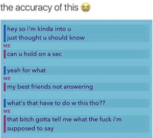 Bitch, Dank, and Friends: the accuracy of this  hey so i'm kinda into u  just thought u should know  can u hold on a sec  veah for what  my best friends not answerina  ME  ME  what's that have to do w this tho??  ME  that bitch gotta tell me what the fuck i'nm  supposed to say Me irl by RedditCitizen_X MORE MEMES
