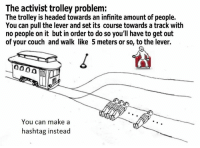 ~Rainbow Reacts Only~: The activist trolley problem:  The trolley is headed towards an infinite amount of people.  You can pull the lever and set its course towards a track with  no people on it but in order to do so you'll have to get out  of your couch and walk like 5 meters or so, to the lever.  000 A  You can make a  hashtag instead ~Rainbow Reacts Only~