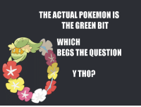 Pokemon, Green, and Question: THE ACTUAL POKEMON IS  THE GREEN BIT  WHICH  BEGS THE QUESTION  YTHO?