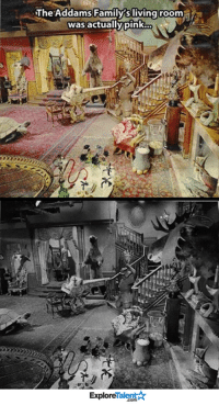 Family, Memes, and Pink: The Addams Family sliving room  was actually pink.  Talent A  Explore This changes everything 💀👻