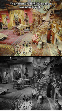 Family, Memes, and Live: The Addams Family's living room  i  was actually pink