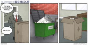 Businesscat: THE ADVENTURES OF BUSINESS CAT  THE NEW  РHOTOCOPERS  ARRVED  TRASH  EXCELLENT  OM FONDER  BUSINESSCAT HAPPYAR.com