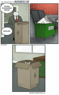 srsfunny:Business Cat Gets A New Copy Machine #Memes #meme https://t.co/VKh4mRvYCm: THE ADVENTURES OF BUSINESS CAT  THE NEW  PHOTOCOPIERS  ARRIVED  TRASH  EXCELLENT  TOM FONDER  BUSINESSCAT HAPPYIAR.com srsfunny:Business Cat Gets A New Copy Machine #Memes #meme https://t.co/VKh4mRvYCm