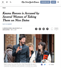 "Dogs, Memes, and New York: The Aew MorkTimes  SUBSCRIBE NOWLOG IN  FILM  Keanu Reeves is Accused by  Several Women of Taking  Them on Nice Dates  Leer en español  By MELENA RYZIK, CARA BUCKLEY and  JODI KANTOR NOV. 11, 2017  ight womsen have tokd The New York Tiness tha th ackorsf>  reputation for kindness and humanity is entirely true, saying <p>He was also accused of avenging several of their dogs via /r/memes <a href=""http://ift.tt/2zCRcaQ"">http://ift.tt/2zCRcaQ</a></p>"