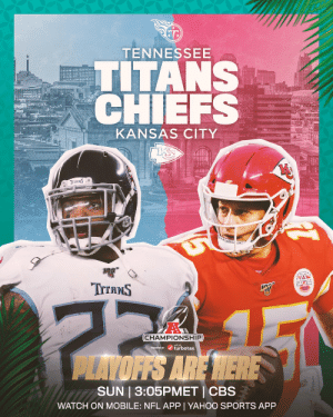 The AFC Championship returns to Arrowhead. #NFLPlayoffs #WeReady  📺: #TENvsKC 3:05pm ET on CBS 📱: NFL app // Yahoo Sports app https://t.co/D72qCUDdct: The AFC Championship returns to Arrowhead. #NFLPlayoffs #WeReady  📺: #TENvsKC 3:05pm ET on CBS 📱: NFL app // Yahoo Sports app https://t.co/D72qCUDdct