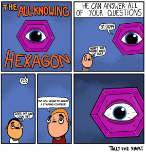 Dad, Love, and Hexagon: THE ALEKNOWING  RGİOF yOUR QUESTIONS  31.0644  WHAT'S THE  SQUARE ROOT  OF 965?  HEXAGON  yES  DO YOU WANT TO HOLD  A STARING CONTEST?  DOES MY DAD  LOVE ME?  TALLY THE SHORT Oof ouch my eyes