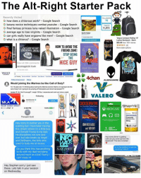 "Donald Trump, Google, and Memes: The Alt-Right Starter Pack  Recently Visited  FOLLOWERS  75  how does a clittorous work? Google Search  G katana novice techniques combat youtube Google Search  TWEETS  11,973  G final fantasy princess luna naked illustration Google Search  G average age to lose virginity Google Search  Garth Vader  G can girls really have orgasms like men? Google Search  Joined October 201  G what is a clittorus? Google Search  Targus Compact Rolling 16""  Laptop Backpack Black  Garth Wider  $52.49  from 100+ stores  HOW TO VOID THE  More style options  THE CLOSER YOU GET  FRIEND ZONE  THE SLOWER IDRIVE  STOP BEING  THE  NICE GUY  View all 284 comments  Cuck  9 HOURS AGO  YAHOO  Search Answers  Search Web  ANS  4chan  ending Barnes and Noble Saint West Steve Bannan Food Netwo  Weather underground Nintendo Switch  Politics & Government  ALIENWARE  Would joining the Marines be like Call of Duty?  I'm 16 years old. I'm thinking about joining the Marines and do infantry, ls it going to be l  call of duty? Am going to be jumping off helicopters and shoot bad people  Jim: Not fit enough? weigh 120 lbs  excercise and work out twice a week.  Upd  VALERO  Following  danbilzerian O  Follow  MLA  Dan Bireri  CUCKSERVATIVE  tamagotchi  MAUOR LEAGUE AIRSOFT  How ""Conservatives"" Betrayed America  2:38 PM  o AT&T  100%  XBOX LIVE  A  Therapist Scott  Concerta  phenidate)  36mg  Hey sorry to bother you in the  MENINIST  JOHN REDEAGLE  sill road  evening but i have been having  XBOX LIVE  and VOXDAY  this dream where im a little boy  GOLD  MEMBERSHIP  and Donald Trump is my dad  He disciplines me over and  Hey honey dinner is getting  over but also beats up Ange  cold can you come up from the  and DeShawn, the kids who  basement? The door is locked  MARS  used to bully me at recess  Im in the middle of a raid can  Do you think this has anything  ALEX JONES  you bring it down?  to do with my dad not being  around much as a kid? Sorry  cant sleep lo  Delivered  Hey Stephen sorry i just saw  these. Lets talk in your session  on Wednesday @versace_tamagotchi bringin the heat 🔥🔥🔥🔥🔥"