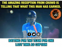 Memes, 🤖, and Bat: THE AMAZING RECEPTION FROM CROWD IS  TELLING THAT WHAT THIS MAN HAS EARNED.  PAGE  RTA  Dis PageVIl entertain u  BATTING FOR THE TEAM FOR ONE  LAST TIME ASCAPTAIN Dhoniiii... Dhoniiii!!👏👏👏 #IndAvsEng <Jarvis>