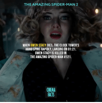 Clock, Facts, and Friends: THE AMAZING SPIDER-MAN 2  WHEN GWEN STACY DIES, THE CLOCK TOWER'S  HAND SPINS RAPIDLY, LANDING ON 01:21  GWEN STACY IS KILLED IN  THE AMAZING SPIDER-MAN #121.  CINEMA  FACTS It's an important lesson for Peter, that no matter how strong he is he can't save everybody, including those he loves. — Follow @cinfacts and tag your friends — spiderman amazingspiderman2 electro gwenstacy peterparker marvelcomics marvelheroes marvelmovies marvel superhero andrewgarfield emmastone cinema cinema_facts spidermanhomecoming greengoblin venom tomholland avengers captainamerica ironman harryosborn electro comics hulk gwenstacy vulture